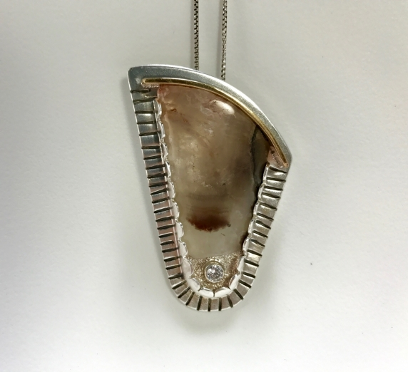 Agate Silver Brass 4 mm CZ necklace