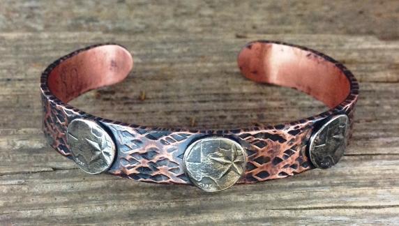Copper bracelet with Texas quarter centers