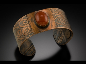 Etched copper bracelet with a jasper cabochon