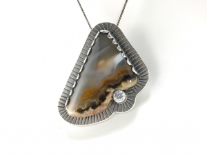 Agate, Silver, 5 mm CZ